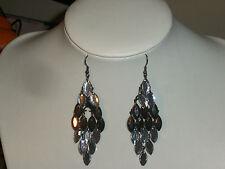 Hematite Shine Layered Drop Earring