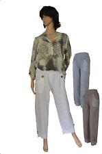 Gr.36 38 40 42 44 Modische Hose Sommerhose Leinenhose Farbauswahl ITALIEN