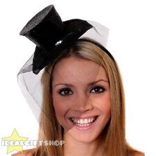MINI cappello nero con glitter Rete Fascinator Con Costume Accessorio Natale
