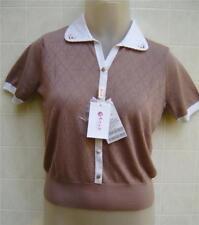 New XS Silk ERDOS Womens Top Eyelet Short Polo Shirt Small 4 Blouse Brown Button