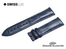 ALLIGATOR pelle di coccodrillo per LONGE & A. SOHNE Orologio Blu Cinturino Fibbia Banda