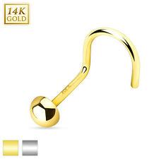 """14 Karat 14K Yellow Gold or White Gold Flat Bottom Dome Nose Screw Ring 20g 1/4"""""""