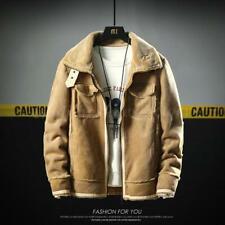 Mens Coat Winter Cashmere Wool Fur Leather Jacket Coat Outwear Warm Collar  sz