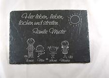 S 63 - Familie Lachen  Schiefer Türschild Name Lasergravur Schieferplatte