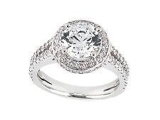 1.50Ct Round Cut Diamond Halo Split Shank Engagement Ring 14k Gold I SI2