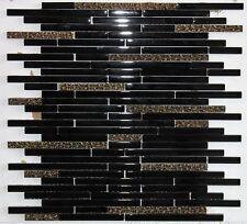 """"""" DESERT GOLD """" BLACK GLASS STRIPS GOLD COPPER VINE MOSAIC TILE BACKSPLASH TILES"""