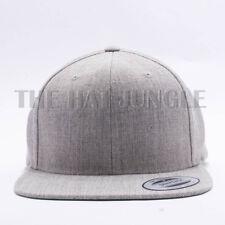Yupoong Snapback Hat Plain 6089M Classic Flexfit Baseball Cap Wool Heather Gray