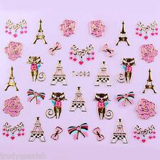 San Valentín Pegatinas Para Uñas Gatos Rosa Arcos Flores Plateado Metálico Oro