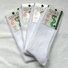 4 Pares Hombre Calcetines SIN GOMA 100% Algodón Estable 4/2 Costilla Blanco 39-