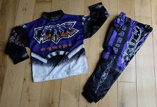 bambini MX MAX equippe ZERO UNO VIOLA Pantaloni 20 / ARANCIO MAGLIA 3-4YR anni