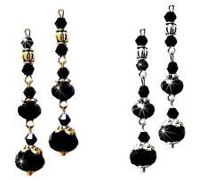 Earrings, black, crystal long drop, choose clip on or pierced