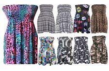 Women's Ladies Sheering Top Gather Bandeau BoobTube Printed Mini Dress Size 8-22