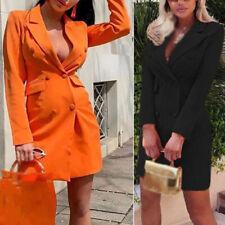 Womens Dress Ladies Work Autumn V-Neck Dress Mini Fashion Lapel Collar