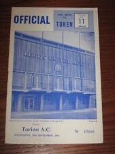 LEEDS TORINO TORO PROGRAMMA COPPA EUROPEA 1965 RARO !!