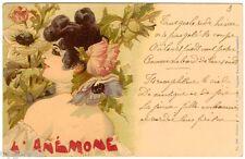 POSTCARD FRENCH 1900 ART NOUVEAU L'ANEMONE SIGNED JACK ABEILLE