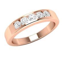 Round Diamond Five Stone Ring Wedding Band SI1 H 0.50Ct 14K Rose Gold Appraisal