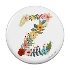 Letter Z Floral Monogram Initial Pinback Button Pin Badge