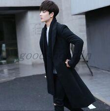 Korean Fashion Mens Black Wool Blend Trench Coat Slim Fit Long Outwear Jacket SZ
