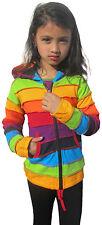 Girls Kids Rainbow Stripe Colorful Hoodie Hippie Bohemian Cute Long Hood Jacket