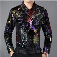 Men Velvet Shirts Casual Long Sleeve Blouse Flower Pleuche Tops Formal Business