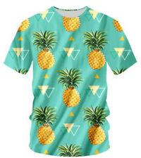 Women Men  Fruit Pineapple Cute Print 3D T-Shirt Casual Short Sleeve Round Tee