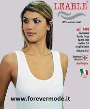 3 Canotte donna Leable spalla larga in cotone makò con profilo in raso art 1404