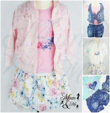 Girl Baby Toddler 3 piece Suit Set Denim Top Long Short Sleeve Jumper Skirt
