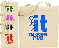 F*ck It I'M Going Pub Large Cotton Tote Shopping Bag Funny Stick Man Gift Xmas