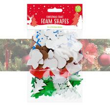 120 x Christmas Craft Foam Shapes Children DIY Card Making Snowflakes Reindeer