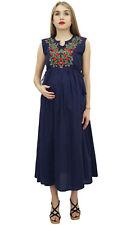 Bimba Moms Blue Maternity Dress Cotton Embroidered Nursing Maxi Sleepwear