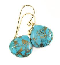 14k Solid Gold Copper Blue Turquoise Earrings Teardrops Mosaic Sterling Dangles