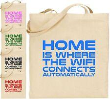 A casa è dove il WiFi si connette Grandi Cotone Tote Bag Regalo di Natale in linea di Internet