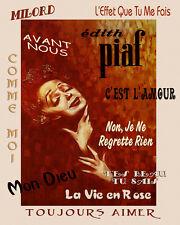 Edith Piaf Singer La Vie en Rose Milord Mon Diew 16X20 Vintage Poster FREE S/H