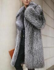 Men's Warm Fox Fur Coat Long Jacket Fox Fur Collar Outwear Oversized Ovecoat sz