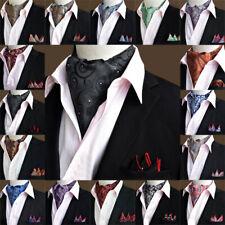 Men's Paisley Floral Cravat Handkerchief Wedding Ascot Scarf Pocket Square Set