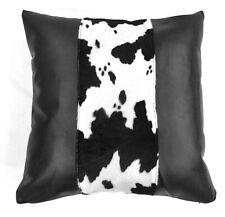 Pff01a-Black white milk cow Black faux leather skin pillow case custom size