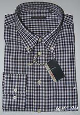 CAMICIA UOMO  M L  XL XXL  3XL 100% cotone con taschino quadretti blu bianco 02