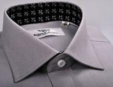 Grey Black Herringbone Formal Business Dress Shirt Standard Single Button Cuffs