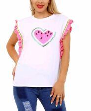 New Women Ladies Summer Frill Sleeve Top White Watermelon Heart Sequin T Shirt
