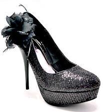 New women's shoes stilettos flower black glitter party wedding formal platform
