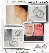 Wirewrapped Boucles d'oreilles Créoles 15mm-100mm acier, cuivre, argent sterling