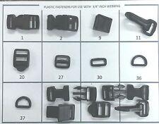 """3/4"""" Cam Buckle, Side Release, Ladder Rack, Snap Hook, Slide, Ring, & more 10-50"""