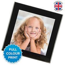 VETRO Personalizzate Foto Personalizzata Bere Coaster Tappetino regalo | NERO ARGENTO