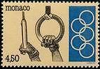 """MONACO N° 1897 """"EMBLEME DU COMITE OLYMPIQUE MONEGASQUE, ATHLETIME ANNEAUX""""xxTTB"""