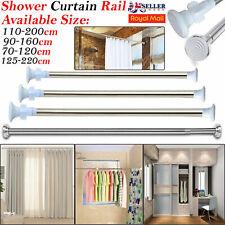 Telescopic Extendable Chrome Curtain Shower Rail Spring Pole Rod Bath Window UK