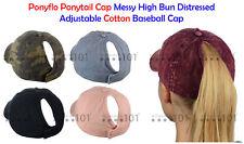 Ponyflo Ponytail Cap Messy High Bun Distressed Adjustable Cotton Ponycap