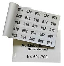 Aufklebenummern für Tombola 100er Block selbstklebend 1-2000 lieferbar