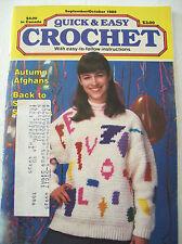 Sept Oct 1989 Quick & Easy Crochet Pattern Magazine Afghan Baby Blanket Shawl