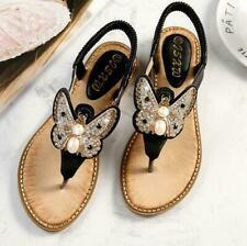 Womens Butterfly Rhinestones Casual Flats Sandals Flip Flop Roman Shoes Summer