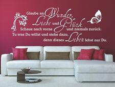 G297 Spruch Wandtattoo - Glaube an Wunder Liebe und Glück Wandaufkleber Zitat 1